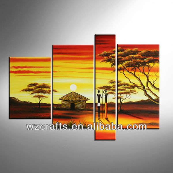 2018 customized fashion african village landscape sunset oil painting canvas group painting