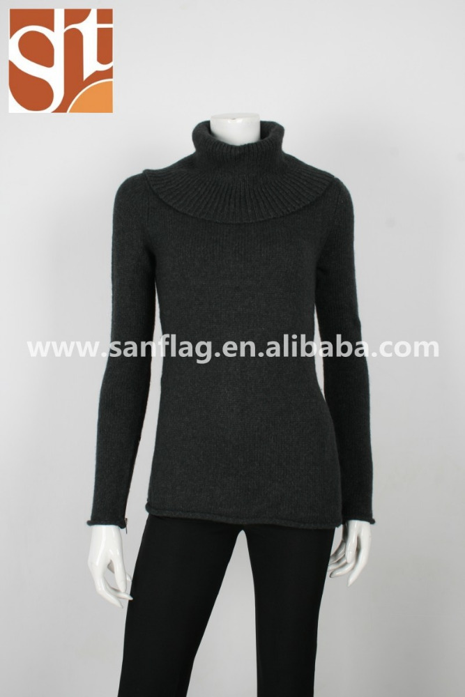 Womens europe turtle neck pullover wool/angora winter heavy plain knit sweater from dongguan quality manufacturer in china