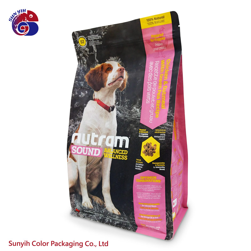 Custom colorful printing five side sealed extra large pet food stand up zipper bag