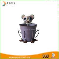 2016 metal planter pot with mouse face for garden decoration