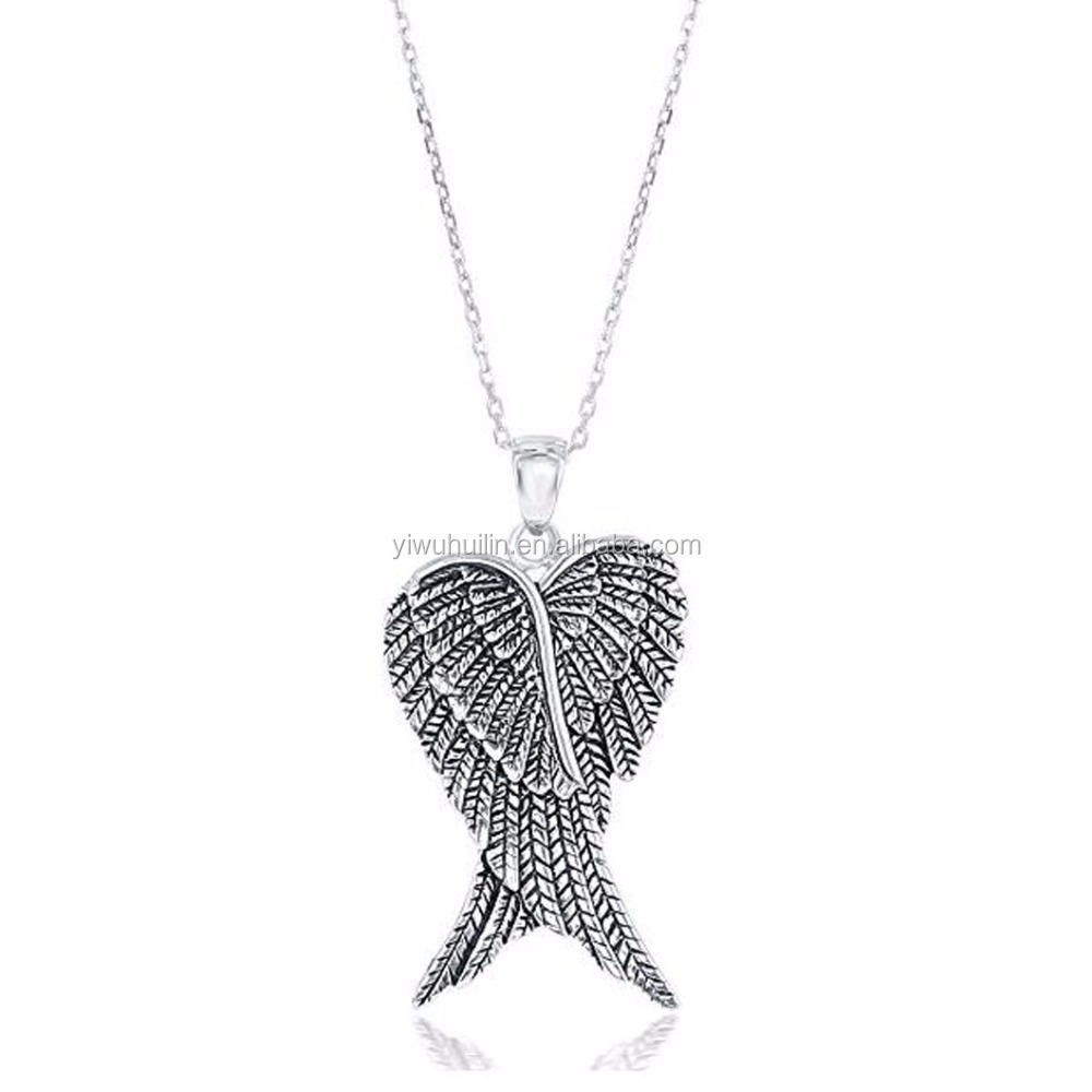 "A800058 Huilin Jewelry Antique Silver plated Guardian Double Angel Wings Heart Pendant necklace with 18"" Chain"