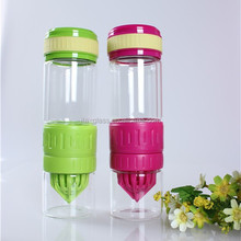 500ml food grade promotional gift set empty reusable portable lid double drinking glass bottle with fruit infuser manufacturer