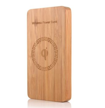 Wood Wooden Power Bank Bamboo Qi Wireless Charger 10000 mAh