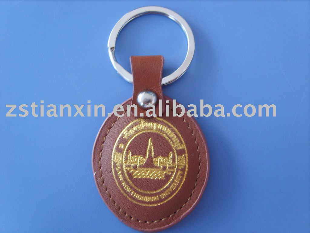 round leather key chain/leather key ring/leather key fob