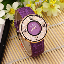 Fashion purple leather strap diamond studded watch for lady