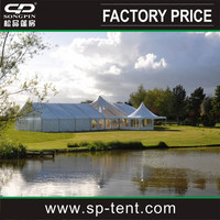 Party wedding events marquee hire with clear mid-roof panles and 6x6m entrance pagoda