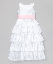 Children Frocks Designs White and Pink Tiered Bow Dress for Toddler Autumn Girls Outfit Z-GD80727-31