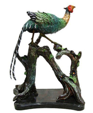 Bronze Peacock on Log Statue