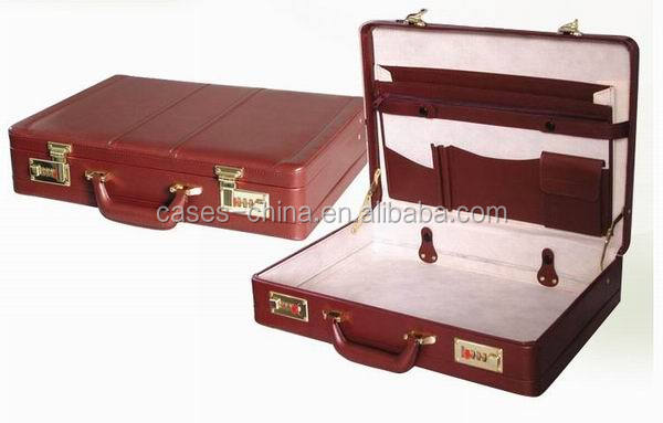 Quality red leather briefcase/attache case for men with cheap price