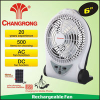 "outdoor 6"" battery powered rechargeable portable fan with super bright light"
