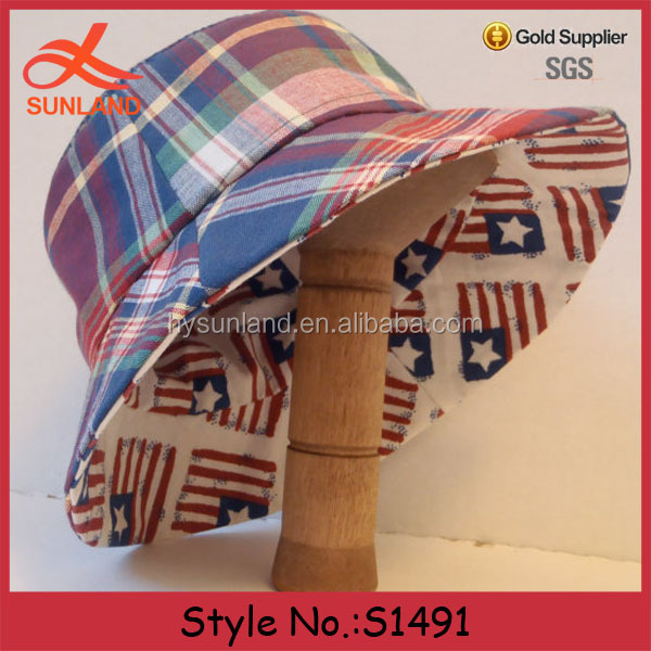 S1491 Hot sale reversible unisex red white blue plaid sun american flag bucket hats wholesale