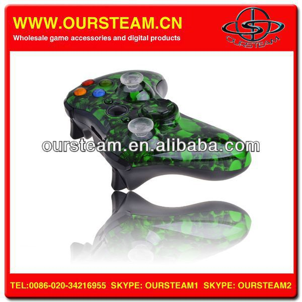 Green Skull Wireless Gamepad Console Controller For Xbox 360
