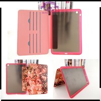 New arrival lady style tablet floral rhinestone painted flower coveres for apple ipad 2 case