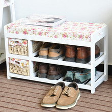 Wooden shoes shelf commercial shoe rack bench with seat