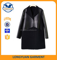 joint korean style long coat leather sleeve for ladies