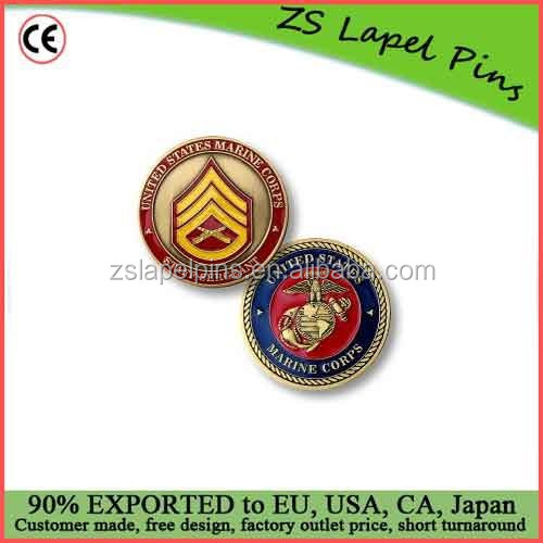 Custom quality free artwork design U.S. Marines Staff Sergeant Challenge Coin