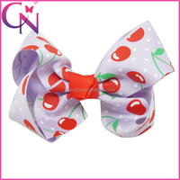Fruit Printing Grosgrain Ribbon Bow Girl Baby Cheap Wholesale Hair Bow With Clip (CNHBW-1407845)