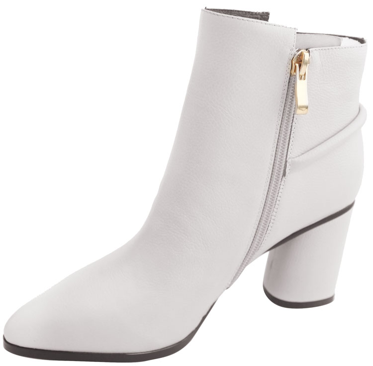 Ivyheel Wholesale and Top Quality White Block High Heel Ankle Boots with Zipper Decorative Buckle Leather Women Shoes