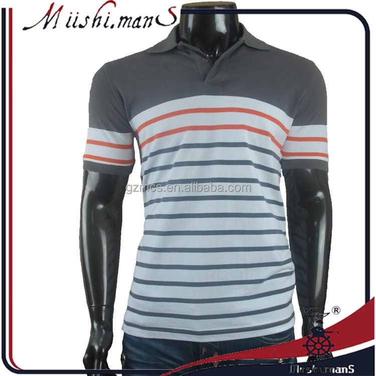 different color collar design mens polo collar striped t shirt