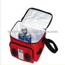 Radio speaker cooler bag with built in speakers
