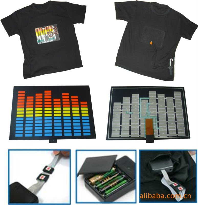 custom led t-shirt/t-shirt hip hop/wholesale t shirts wholesale sound activated promotion