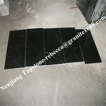 Factory direct cheap black marble white veins tile