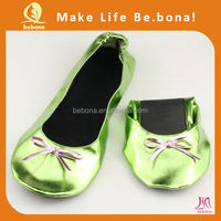 2015 hot selling! girls dress beatiful foldable flat ballerina shoes