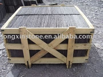 Purple Roofing Slate With Wooden Crates