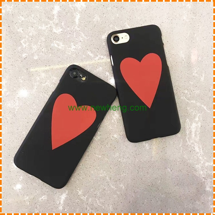Popular style red love heart shape half cover hard pc phone case for iphone 7 plus