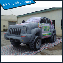 Customized 5m giant inflatable jeep car model with advertisement logo printing