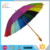 Promotion 16k manual open rainbow straight umbrella with wooden shaft