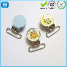Round 25mm Enamel Suspender Clips Pacifier Mitten Fabric Dummy Clips