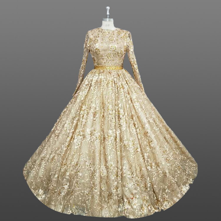 Newest Korean Gold Wedding Dresses With Long Sleeves Embroidered Crystal Weddings 2018 Dress Custom Made Bridal Product On
