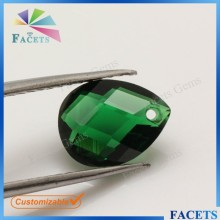 Rough Emerald Glass Gems Stone Double Faceted Pear Cut Emerald Gem Buyers in China