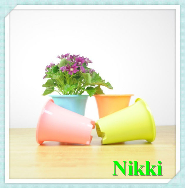 2014 colorful decorate family beautiful plastic flower pot,japanese pot, feeling pot,small flower pot-143