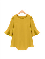 2014 new fashion women tops plus size womens chiffon blank cotton plain short sleeve blouse with floral hem