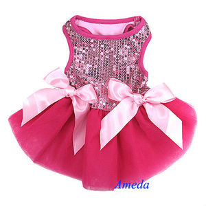 Xmas Hot Light Pink Princess Bling Crystal Bow Tutu Dog Clothes Party Dress XS-L