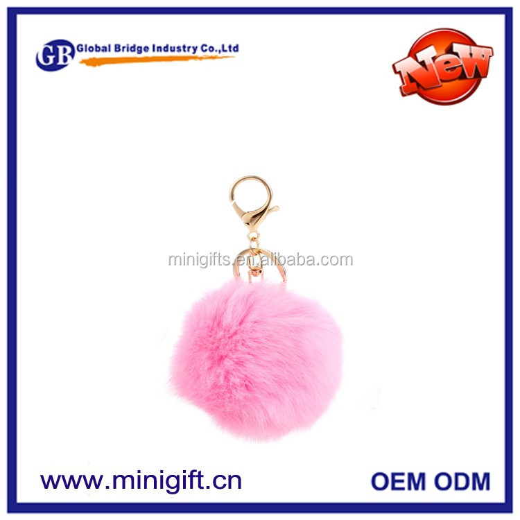 2017 Best selling cheap fur ball plush keychain cute monster pompom key chain