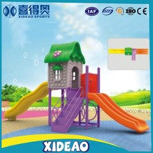 preschool outdoor playground two slide tubes with baby swing seats XA-T052-6