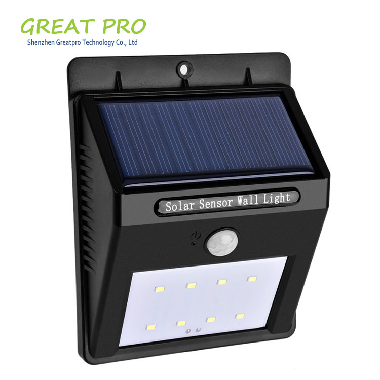 Greatpro Waterproof 8 16 20 LED Solar Power Fence Security Light, Outdoor LED Solar Garden Light with Motion Sensor