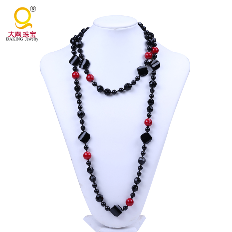 Sale long necklace glass bead chain desings fashion apparel accessories necklace