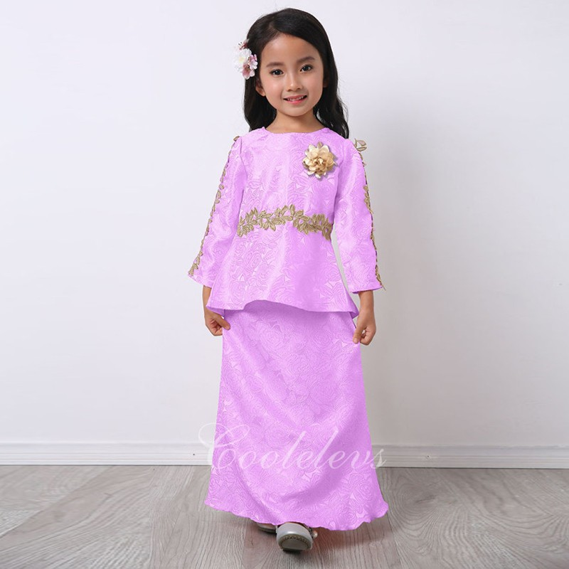 2017 Clothing Factory Price Chiffon Girls Spring Maxi Dress With Headwear MLZ105