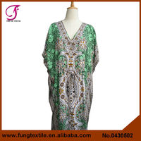 0430502 Women Long Design Cotton Floral Kaftan Jilbab