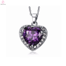 Beautiful Heart Purple Zircon Amethyst Crystal Necklace
