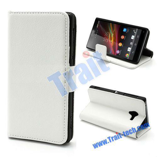 Wallet Leather Flip Case for Sony Xperia ZL L35h L35a C6506 - White