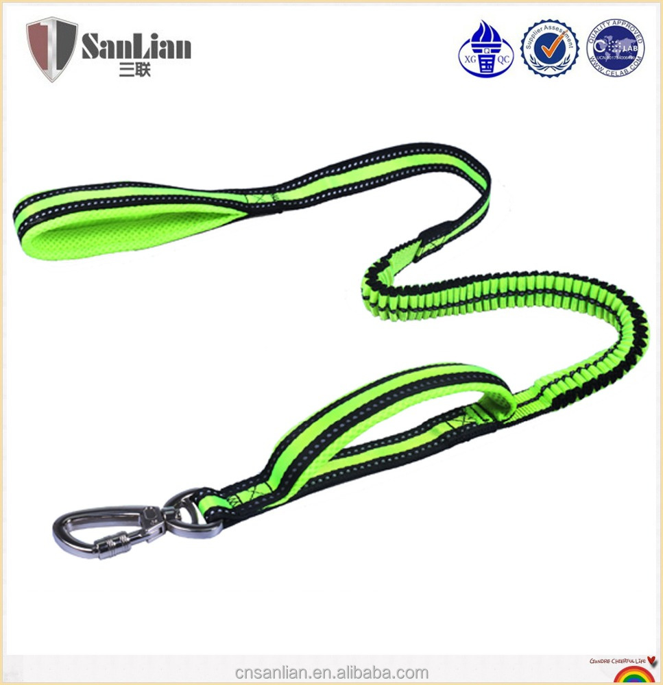 2017 new product top quality pet accessories retractle neoprene padded double Handle nylon running dog leashes
