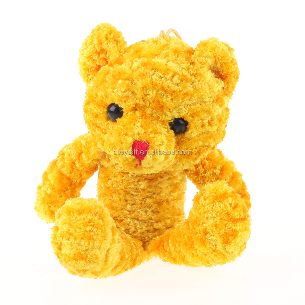 Eco-friendly safety customized kids yellow color teddy bear