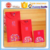 2016 Wholesale Unique butterfly closure design custom Chinese Red Money envelopes for wedding ceremony