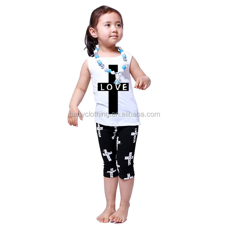 2017 wholesale cheap toddler girls kids summer boutique tank top capri outfits clothes