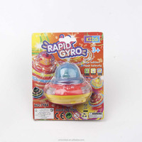 Battery operated electronic spinning top with colorful light and music